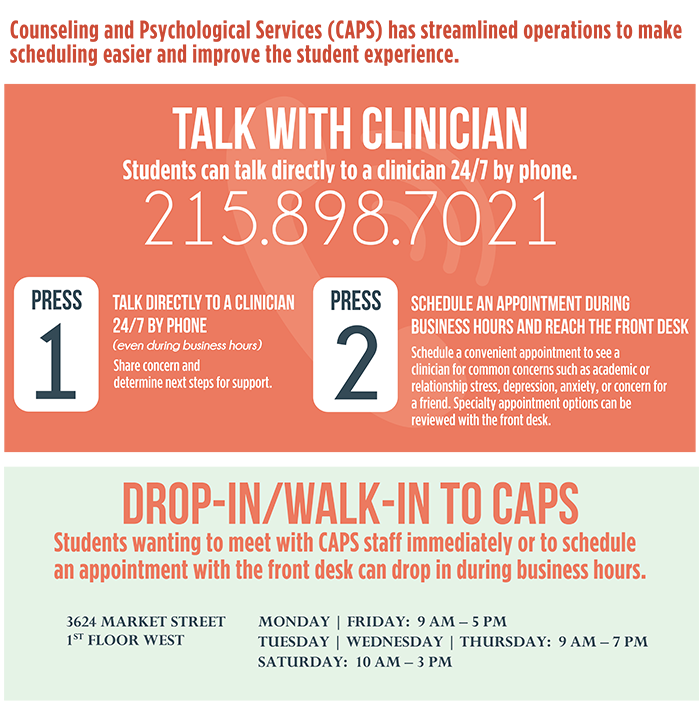 Counseling and Psychological Services (CAPS) has streamlined operations to make scheduling easier and improve the student experience. TALK WITH clinician Students can talk directly to a clinician 24/7 by phone. 215.898.7021 PRESS 1 TALK directly to a clinician 24/7 by phone (even during business hours) Share concern and determine next steps for support. PRESS 2 Schedule an appointment during business hours and reach the front desk Schedule a convenient appointment to see a clinician for common concerns such as academic or relationship stress, depression, anxiety, or concern for a friend. Specialty appointment options can be reviewed with the front desk.  Drop-in and Walk-in to CAPS Students wanting to meet with CAPS staff immediately or to schedule an appointment with the front desk can drop in during business hours. 3624 MARKET STREET 1ST FLOOR WEST MONDAY and FRIDAY: 9 AM to 5 PM TUESDAY WEDNESDAY and THURSDAY: 9 AM to 7 PM SATURDAY: 10 AM to 3 PM