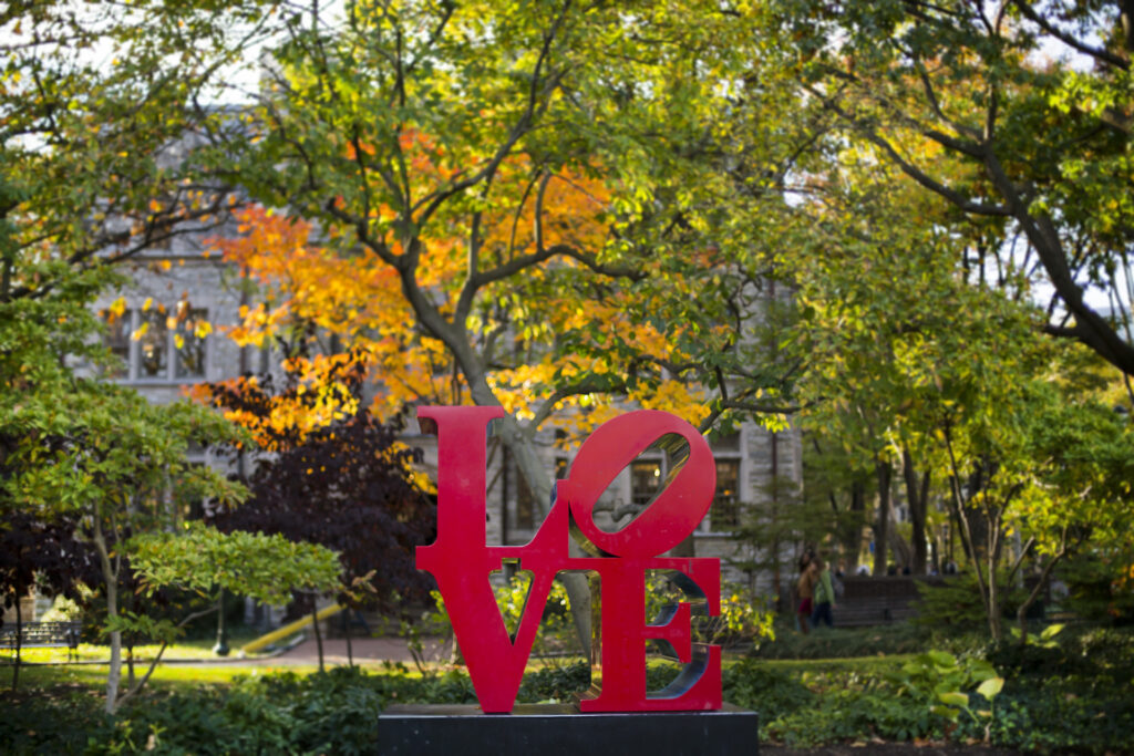 a picture of the LOVE statue on Penn's campus